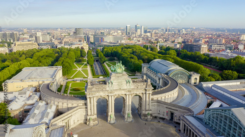 Bruxelles Brussels, Belgium. Park of the Fiftieth Anniversary. Park Senkantoner. The Arc de Triomphe of Brussels (Brussels Gate), Aerial View