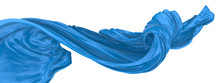 Abstract Background Of Blue Wavy Silk Or Satin. 3d Rendering Image.