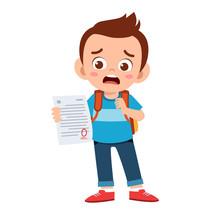 Sad Kid Boy Have Bad Mark From Exam