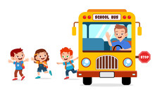 Happy Cute Kids Ride Bus From ...