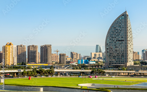 Fotografija  View to one of the residential district of Baku city with living houses, Azerbai