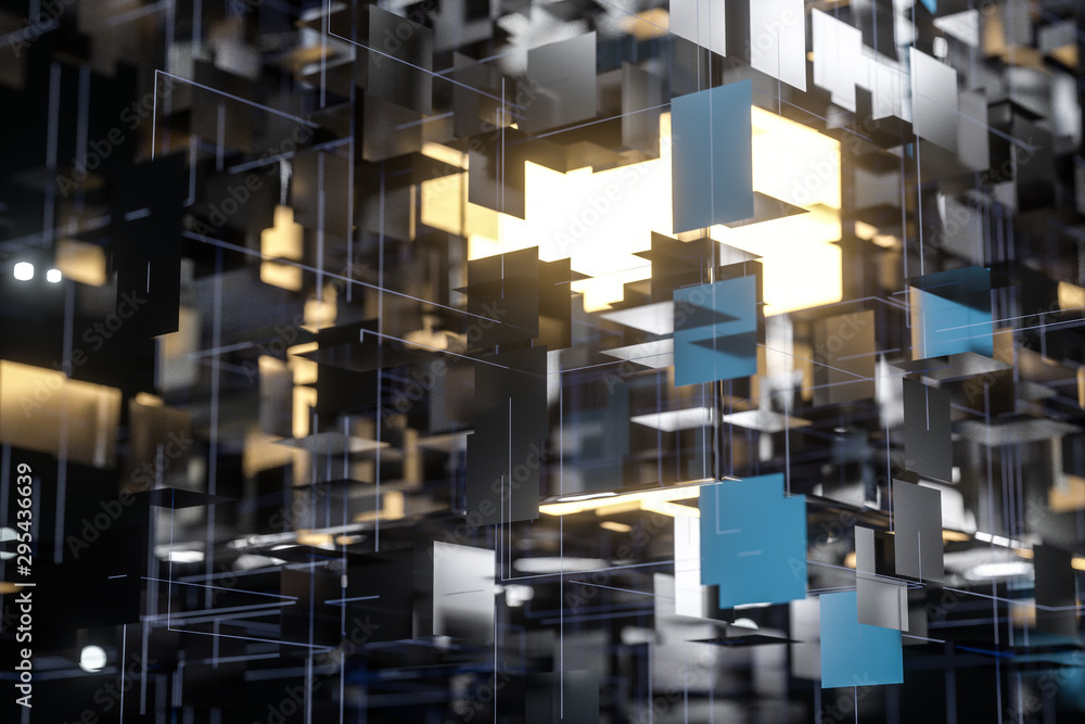 A three-dimensional space composed of square planes, 3d rendering.