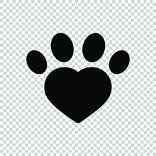 Footprint Heart Icon Flat Vector Illustration