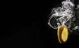 hot cold smoking yellow lemon concept