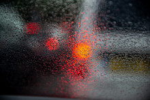 Driving With Heavy Rain On Car Windscreen