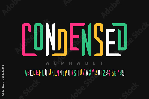 Photo  Condensed style font, alphabet letters and numbers