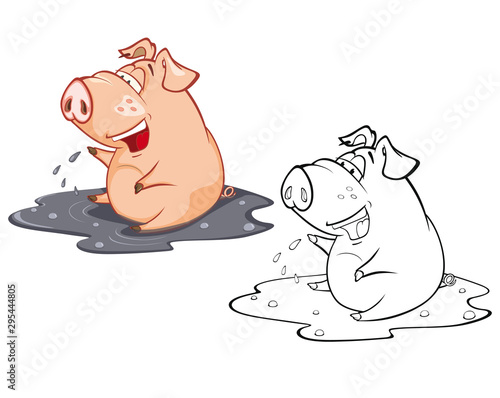 Photo sur Aluminium Chambre bébé Vector Illustration of a Cute Cartoon Character Pig for you Design and Computer Game. Coloring Book Outline Set