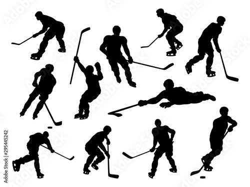 A set of detailed silhouette hockey players in lots of different poses Wallpaper Mural