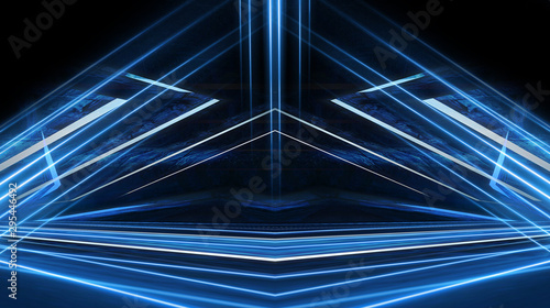 Obraz Abstract light tunnel, blue background, stage, portal with rays, neon blue light and spotlights. Dark empty scene with cold neon. Symmetric reflection, perspective. 3D rendering. - fototapety do salonu