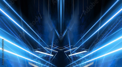 Cadres-photo bureau Fractal waves Abstract light tunnel, blue background, stage, portal with rays, neon blue light and spotlights. Dark empty scene with cold neon. Symmetric reflection, perspective. 3D rendering.