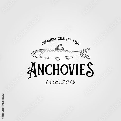 anchovies anchovy fish vintage logo label emblem packaging vector icon seafood d Wallpaper Mural