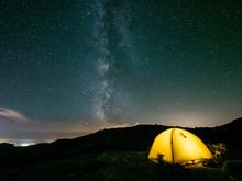星 山 天の川 テント