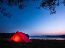 テント キャンプ 登山 夕焼け