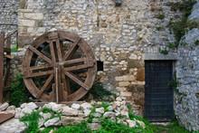 Old Water Mill Inside A Castle