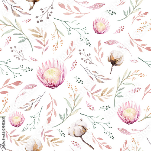 Foto auf Gartenposter Künstlich Hand drawing seamless watercolor floral patterns with protea rose, leaves, branches and flowers. Bohemian gold pink pattern prorea. Background for greeting wedding invitation
