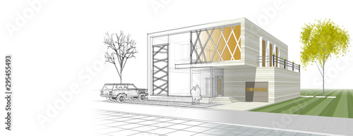 modern house sketch 3d illustration Fototapete