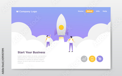 Photo  grow business landing page illustration