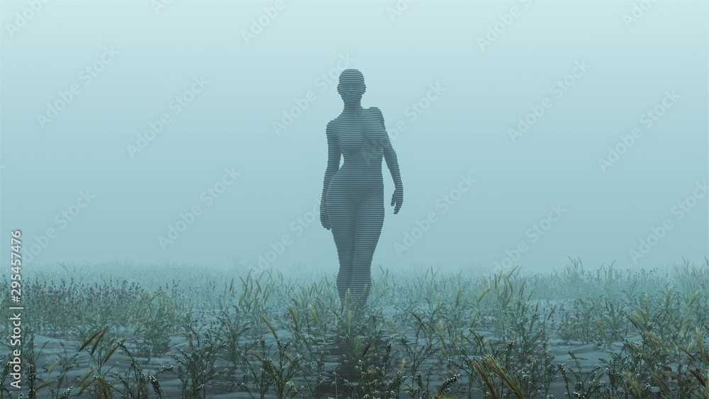Fototapety, obrazy: Advanced Black Shape Shifting Alien Being Formed From Small Spheres Walking in a Foggy Watery Void with Reeds and Grass background Front View  3d illustration 3d render