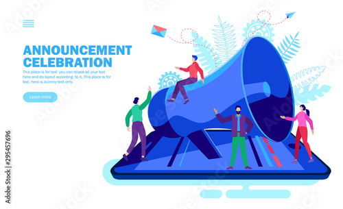 Photo announcement with loudspeaker and happy team on smartphone