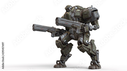 3d illustration of sci-fi mech soldier standing with two assault guns isolated on white background Canvas Print
