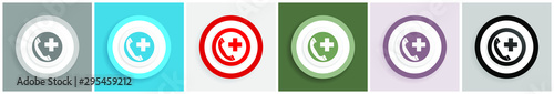 Fotografia  Emergency call icon set, colorful flat design vector illustrations in 6 options