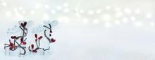 Christmas Banner With Reindeer...