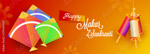 Banner or header design decorated with colorful kites and spool on orange floral background for Happy Makar Sankranti celebration Wallpaper Mural