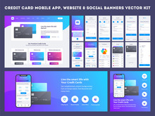 Online Payment Or Credit Cards App Ui Kit With Website Menu Like As, Credit Cards, Saving, Checking Accounts And Transaction Confirmation.