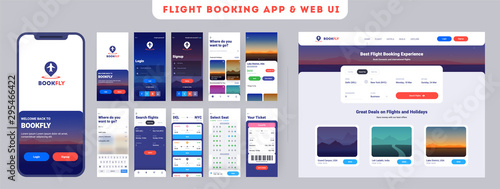 Online Flight booking mobile app onboarding website menu screens, Travel, Insurance, Air ticket; Holiday planning, Book your air flight Canvas Print