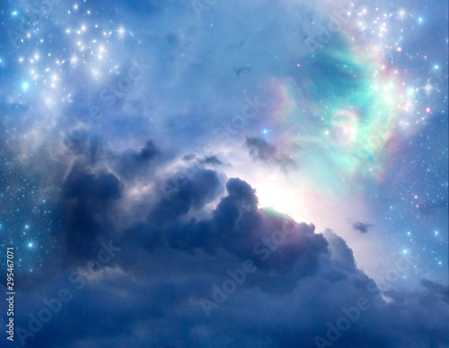 abstract angel spiritual mystic mystical magic magical religious background with stars and divine angelic light  Wall mural