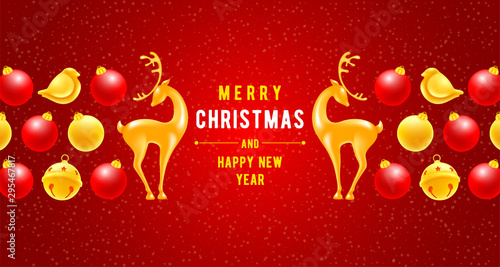 Photo  Christmas and New Year congratulation luxury design with golden jingle bells, christmas balls, birds, voluminous and glossy figures of a deer on red background