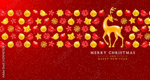 Photo  Christmas and New Year greeting luxury design with festive elements such as golden jingle bells, christmas balls, birds, voluminous and glossy figure of a deer, etc on red background