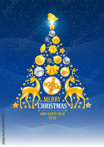 Luxury Christmas Tree made of festive elements such as golden and silver bells, gift, snowflakes, christmas balls, birds, deers etc on snowy background Wallpaper Mural
