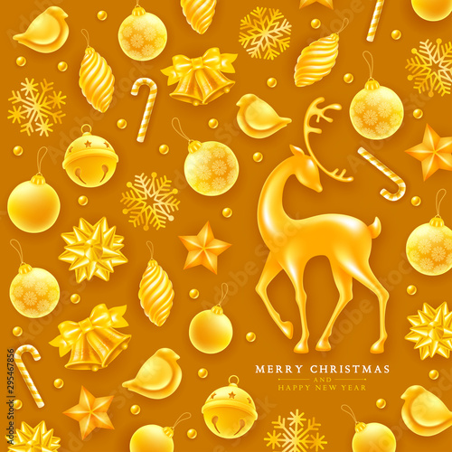 Christmas and New Year greeting luxury design with festive elements such as golden jingle bells, christmas balls, birds, voluminous and glossy figure of a deer, etc on golden background Canvas Print