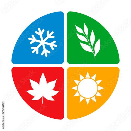 Obraz na plátně four seasons of the year logo icon concept