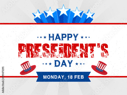 Creative lettering of happy president's day on grey ray background can be used poster or banner design Canvas-taulu