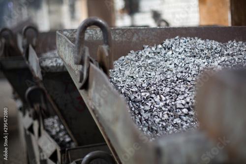 Vászonkép Pieces of ferrotitanium closeup