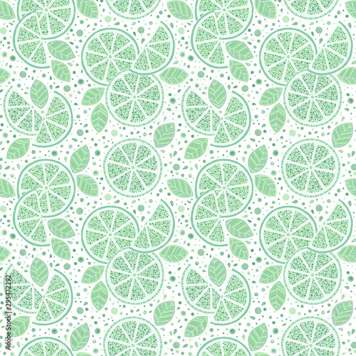 Lime with green leaves, slice citrus white background. - 295472292