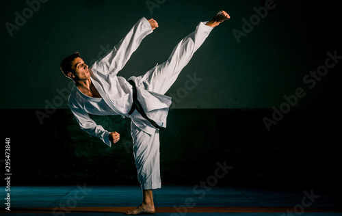 The man in a kimono practicing karate moves Canvas Print