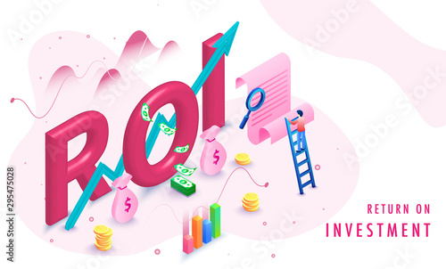 Fotomural  Return on investment (ROI) isometric background with growth or profit graphs, money, document and miniature business person