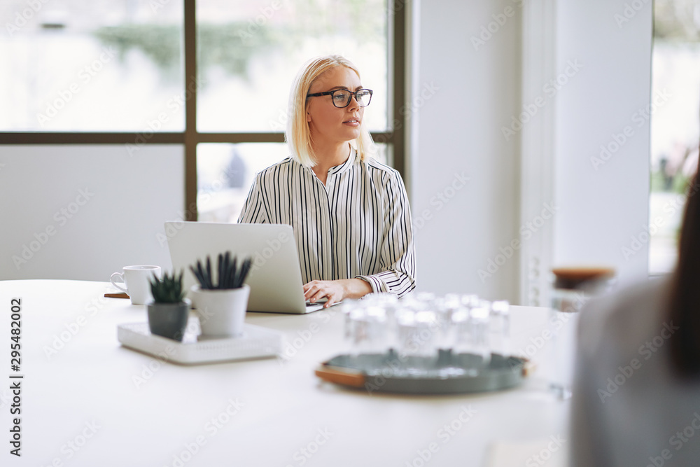 Fototapety, obrazy: Smiling young businesswoman using a laptop during an office meet