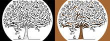 Doodle Tree Animal Bird Cartoon Monochrome Black White Line Vector Design