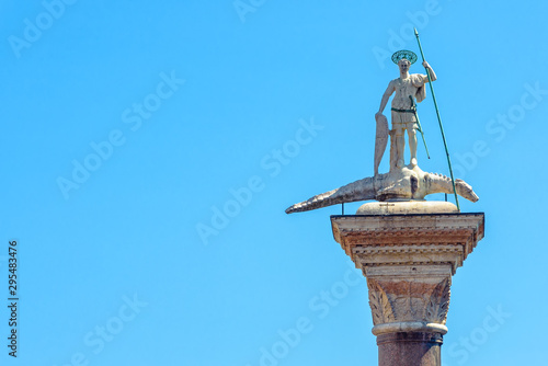 Statue of St Theodore with a crocodile on an ancient pillar on the Piazza San Marco, Venice, Italy Canvas Print
