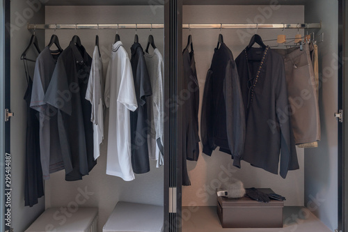 Fotomural  modern wardrobe with set of clothes