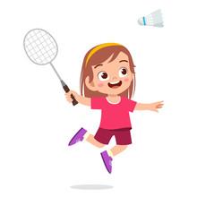 Happy Cute Kid Girl Play Train Badminton