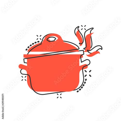 Fototapeta Vector cartoon cooking pan icon in comic style. Kitchen pot concept illustration pictogram. Saucepan equipment business splash effect concept. obraz