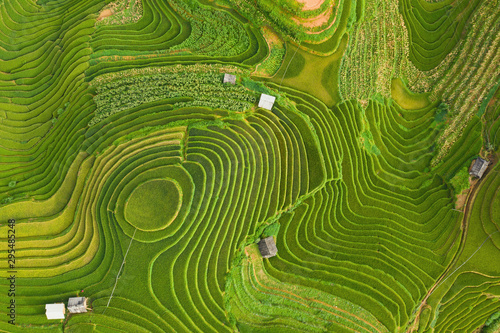 Foto op Plexiglas Groene Aerial top view of paddy rice terraces, green agricultural fields in countryside or rural area of Mu Cang Chai, Yen Bai, mountain hills valley at sunset in Asia, Vietnam. Nature landscape background.