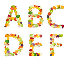 Alphabet Made Of Vegetables And Fruits. Vegetarian Food Font. Vector Illustration In Cartoon Style. Letters Laid Out From Plant Foods.