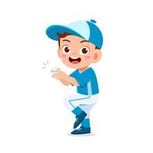 Happy Cute Kid Boy Play Train Baseball