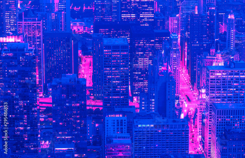 Chicago cityscape skyscrapers at night aerial view synth wave style - 295486853